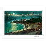 Moonlit view of the Vue de l'EauSanta Cruz, CA Postcard