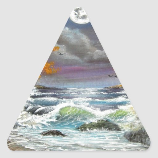 Moonlite Seascape Triangle Stickers