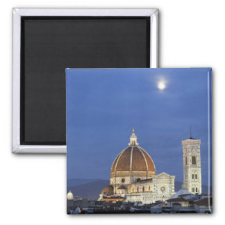 Moonrise and Florence Cathedral, Basilica di 2 Inch Square Magnet