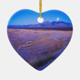 Moonrise in the Mojave Ceramic Ornament
