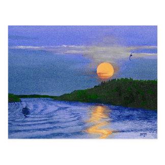 Moonrise on the River Postcard