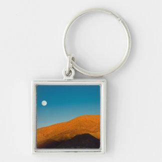 Moonrise over Mojave desert Keychains