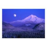 Moonrise over Mt Hood winter, Oregon Art Photo