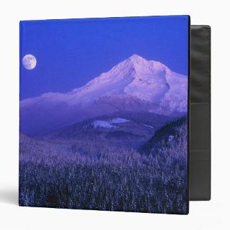 Moonrise over Mt Hood winter Oregon 3 Ring Binders