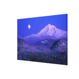 Moonrise over Mt Hood winter Oregon Canvas Prints