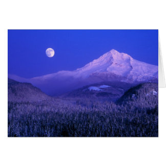 Moonrise over Mt Hood winter Oregon Greeting Cards