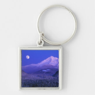 Moonrise over Mt Hood winter, Oregon Silver-Colored Square Keychain