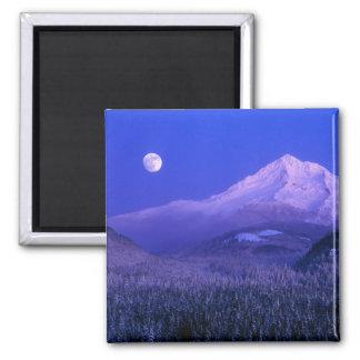 Moonrise over Mt Hood winter Oregon Magnets