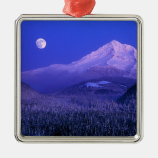 Moonrise over Mt Hood winter, Oregon Metal Ornament