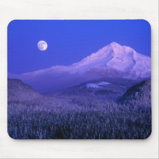 Moonrise over Mt Hood winter, Oregon Mouse Pad