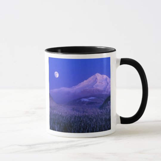 Moonrise over Mt Hood winter, Oregon Mug