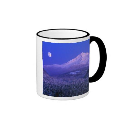 Moonrise over Mt Hood winter, Oregon Ringer Coffee Mug