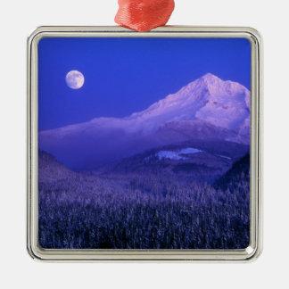 Moonrise over Mt Hood winter Oregon Christmas Tree Ornaments