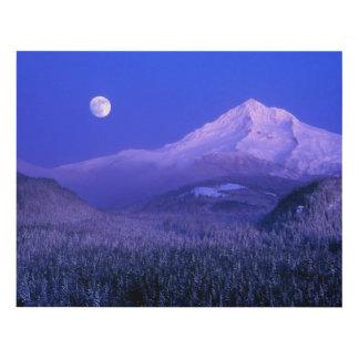 Moonrise over Mt Hood winter, Oregon Panel Wall Art