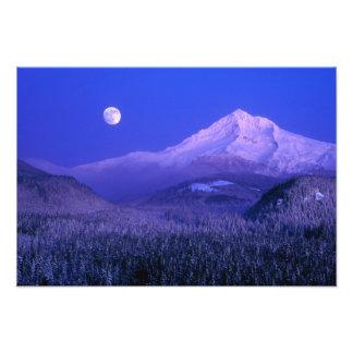 Moonrise over Mt Hood winter Oregon Art Photo