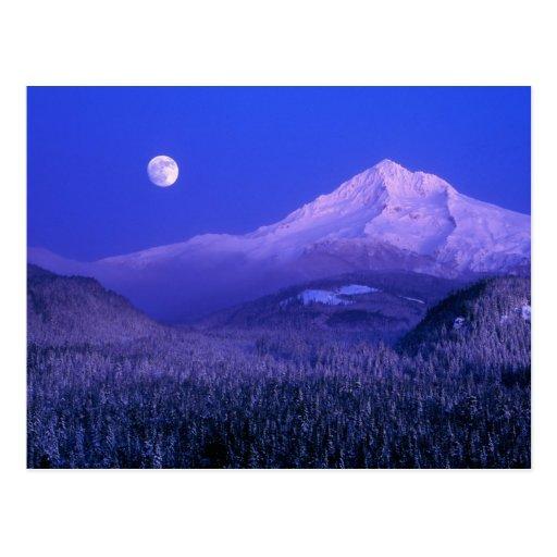 Moonrise over Mt Hood winter, Oregon Postcards