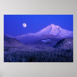 Moonrise over Mt Hood winter, Oregon Poster