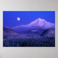 Moonrise over Mt Hood winter, Oregon Posters