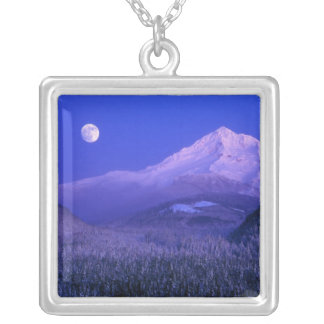 Moonrise over Mt Hood winter, Oregon Silver Plated Necklace