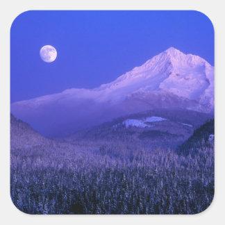 Moonrise over Mt Hood winter Oregon Square Stickers