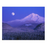 Moonrise over Mt Hood winter, Oregon Wood Wall Art