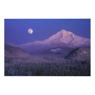 Moonrise over Mt Hood winter, Oregon Wood Wall Decor