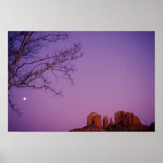 Moonrise Over Oak Creek Canyon Poster
