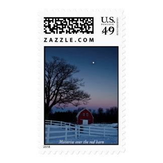 Moonrise over the red barn stamps