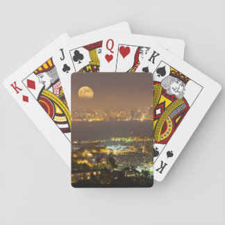 Moonrise over the San Diego skyline Playing Cards