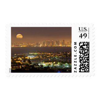 Moonrise over the San Diego skyline Postage