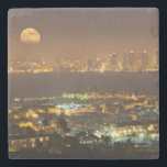 "Moonrise over the San Diego skyline Stone Coaster<br><div class=""desc"">Andrew Shoemaker / DanitaDelimont.com 