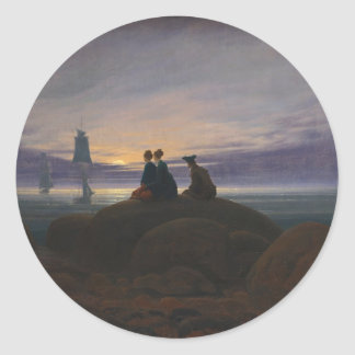 Moonrise Over the Sea Classic Round Sticker