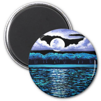 Moonrise over Wingaersheek 2 2 Inch Round Magnet