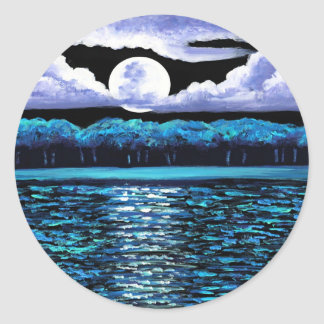 Moonrise over Wingaersheek 2 Round Stickers