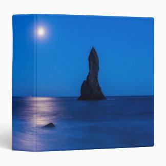 Moonrise reflection on ocean and sea stacks 3 ring binder