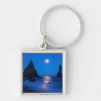 Moonrise reflection on ocean and sea stacks key chains