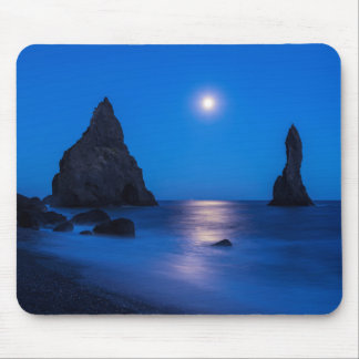 Moonrise reflection on ocean and sea stacks mouse pad