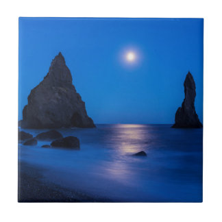 Moonrise reflection on ocean and sea stacks tile