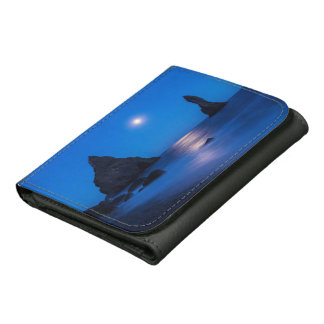 Moonrise reflection on ocean and sea stacks wallet