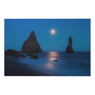 Moonrise reflection on ocean and sea stacks wood wall art
