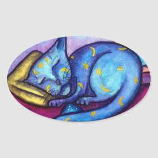 Moons and Star Sleeping Kitty Oval Sticker