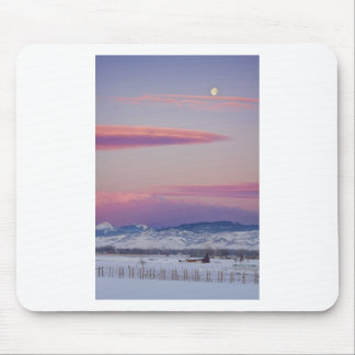 Moons and Sunrise in Colorado Winter Landscape Mouse Pad