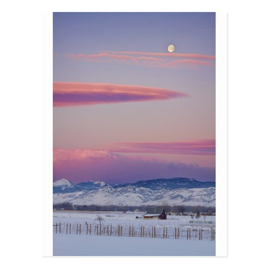 Moons and Sunrise in Colorado Winter Landscape Postcard
