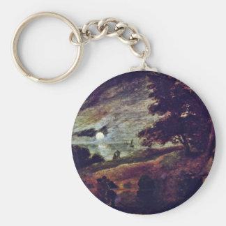 Moonscape By Brouwer Adriaen Basic Round Button Keychain