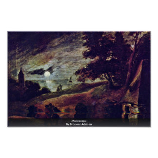 Moonscape By Brouwer Adriaen Poster
