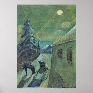 Moonscape con el caballo de Gualterio Gramatte Póster