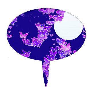 Moonscape con las mariposas - lila, azul marino decoraciones para tartas