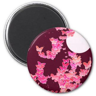 Moonscape con las mariposas - rosa, Borgoña