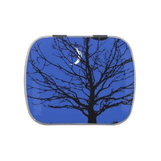 Moonscape en azul y negro de cobalto latas de caramelos
