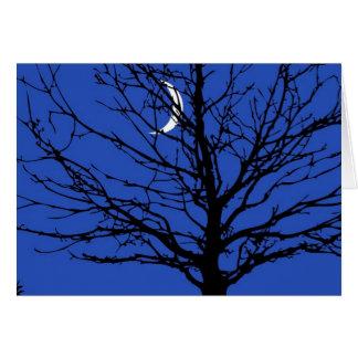 Moonscape en azul y negro de cobalto tarjeta pequeña
